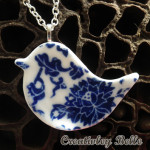 Detail of Blue and white porcelain bird with lotus seed pod