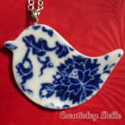 Timeless blue and white porcelain bird necklace