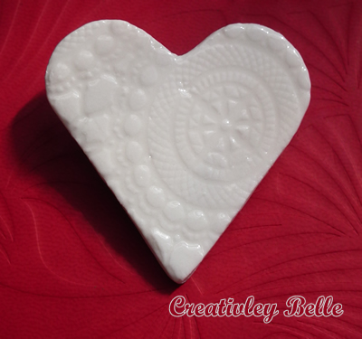 Handmade white lace imprint heart brooch