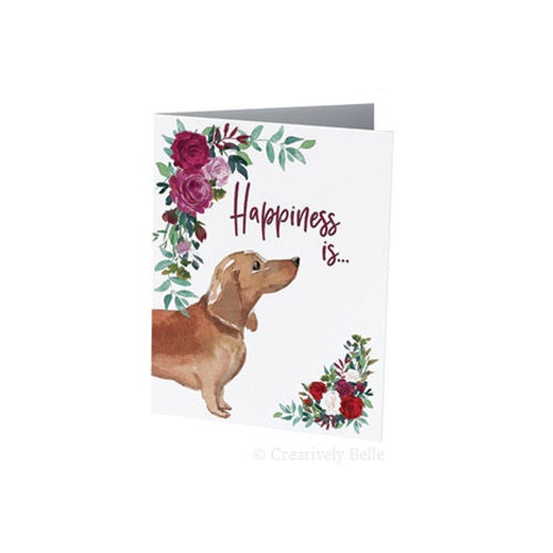 Sausage Dog Happiness is card for dachshund lovers by Creatively Belle