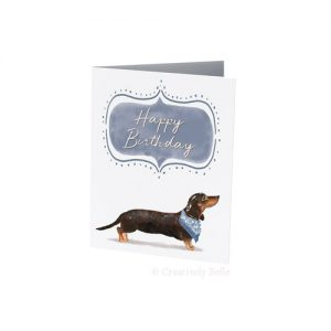 Sausage Dog Birthday card in blue for dachund lovers by Creatively Belle