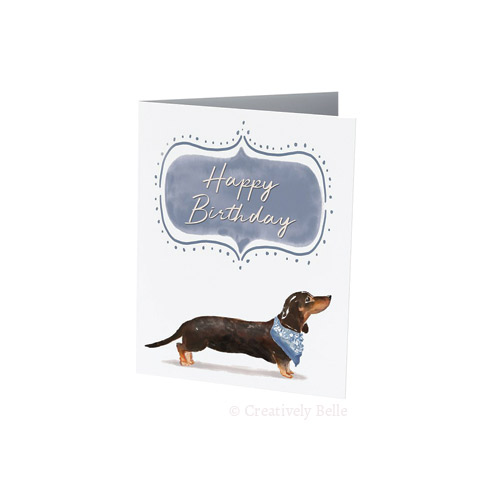 Blue Happy Birthday Sausage Dog Greeting Card