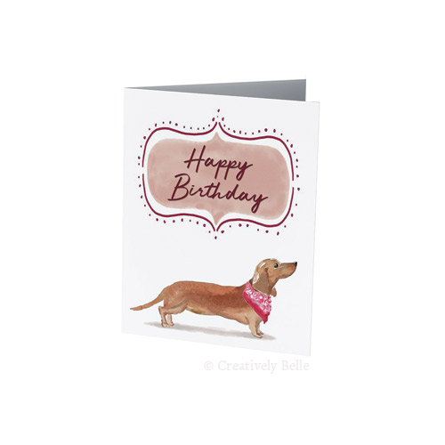 Sausage Dog Birthday card in red for dachshund lovers by Creatively Belle