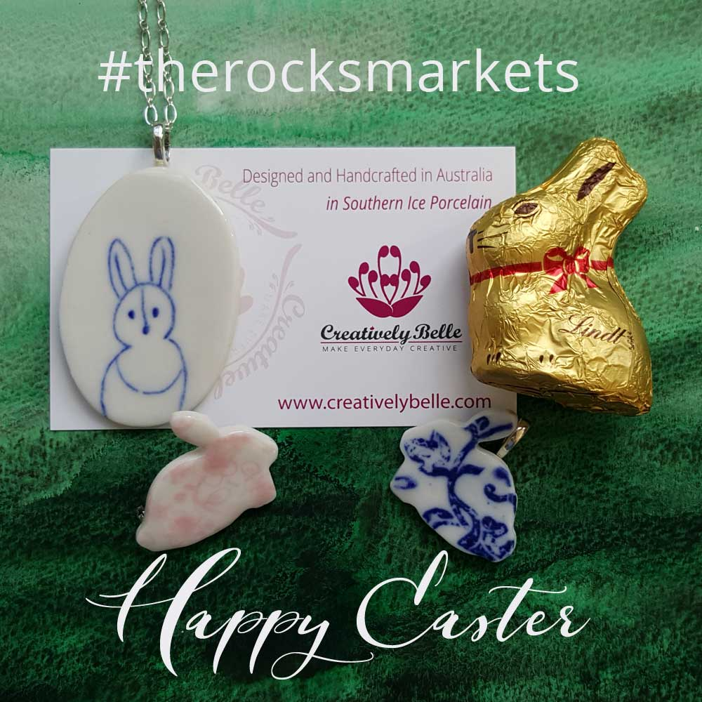 Happy Easter from Creatively Belle at The Rocks Markets with Ceramic Jewelry