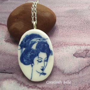 Harmony Geisha in blue and white ceramic jewellery necklaces and brooches by Creatively Belle
