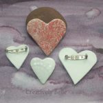 Handmade heart brooch ceramic jewellery by Creatively Belle at The Rocks Markets