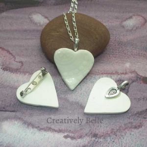 White heart brooch and necklace details handmade ceramic jewellery by Creatively Belle find at The Rocks Markets