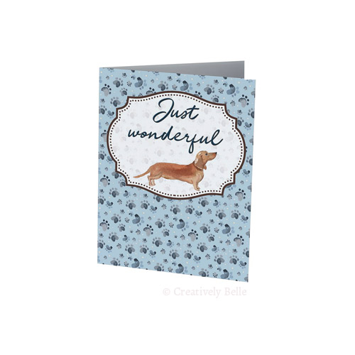 Sausage Dog Just Wonderful card in blue for dachshund lovers by Creatively Belle
