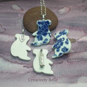 Australian made Koala brooch and necklace front and back details handmade ceramic jewellery by Belinda of Creatively Belle at The Rocks Markets
