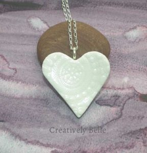 Handmade heart long necklace ceramic jewellery by Creatively Belle at The Rocks Markets