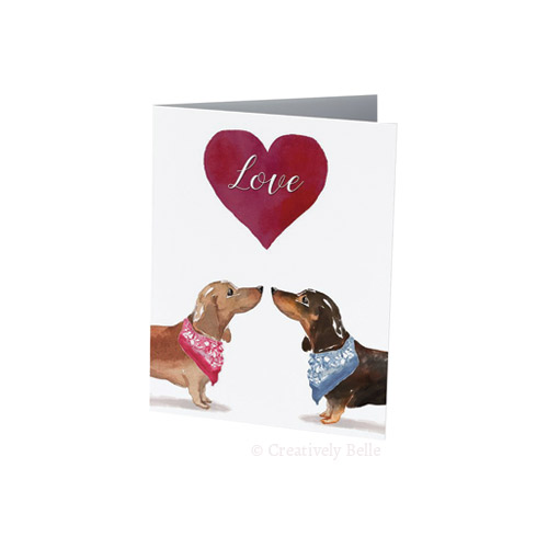 Sausage Dog Love card for dachshund lovers by Creatively Belle