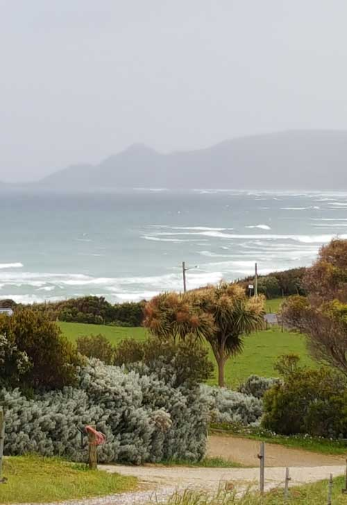 View from my Marrawah beach house looking over Green Point beach by Creatively Belle owner Belinda on her photography and painting holiday in the Tasmanian Tarkine wilderness