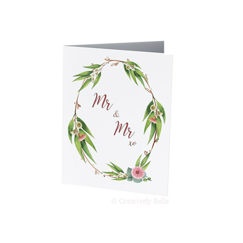 Mr and Mr gum blossom wedding greeting card with Gum blossoms and leaves