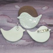 peace bird front and back large ceramic jewellery by Creatively Belle