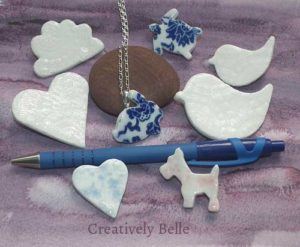 Showing the sizes of the ceramic jewellery collection of brooches and necklaces by Creatively Belle