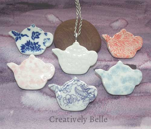 Tea Pot necklace and brooch collection ceramic jewellery by Creatively Belle at The Rocks Markets in Sydney