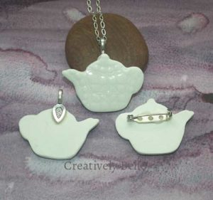 Tea Pot front and back necklace and brooch collection ceramic jewellery by Creatively Belle at The Rocks Markets in Sydney