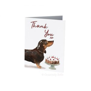Sausage Dog Thank You card for dachshund lovers by Creatively Belle