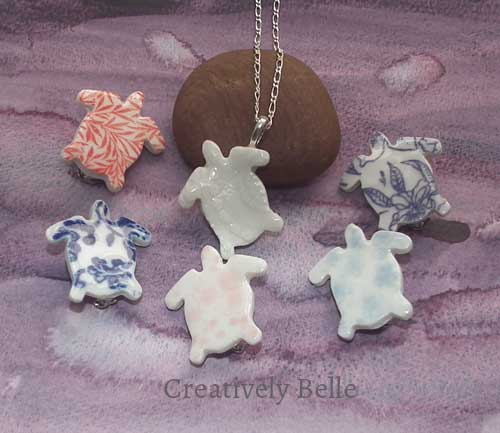 Turtle necklace and brooch collection ceramic jewellery by Creatively Belle at The Rocks Markets in Sydney