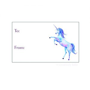 Prancing Unicorn gift tags by Creatively Belle