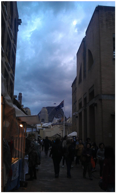 The view from the Creatively Belle stall at The Rocks Markets