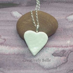Loving heart lace imprint handmade ceramic jewelry by Creatively Belle