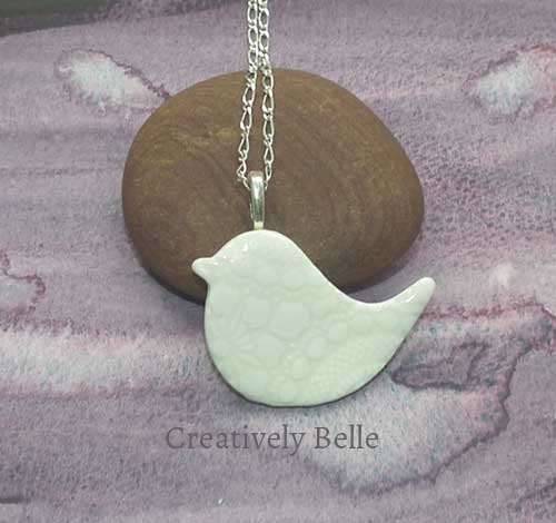 White lace imprint medium peace bird necklace porcelain jewellery by Creatively Belle The Rocks Markets