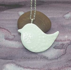 Peace Bird long necklace ceramic jewellery by Creatively Belle at The Rocks Markets in Sydney