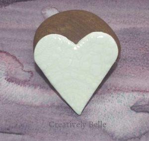Handmade heart brooch ceramic jewellery by Creatively Belle