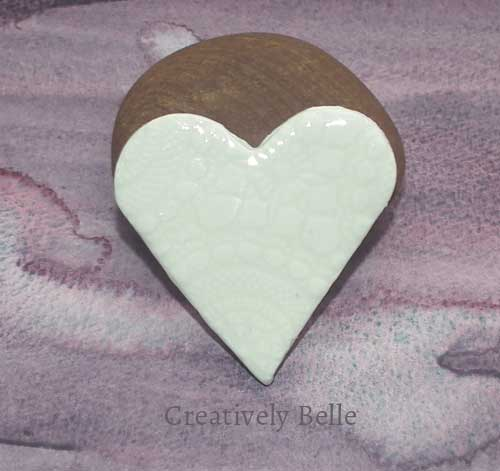 Handmade heart brooch ceramic jewellery by Creatively Belle