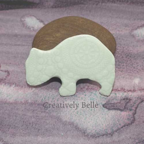 Wombat duo brooch and necklace handmade ceramic jewellery by Creatively Belle