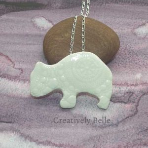 Tasmanian Wombat duo necklace and brooch ceramic jewellery by Creatively Belle at The Rocks Markets